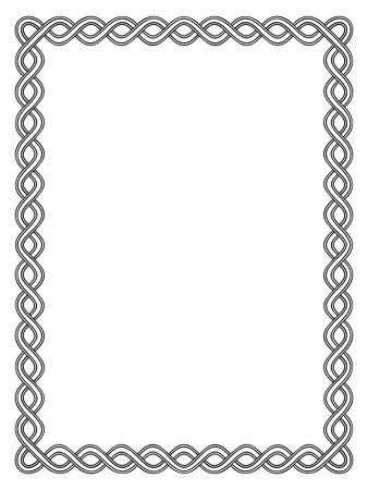 simple black calligraphy ornamental decorative frame pattern Illustration