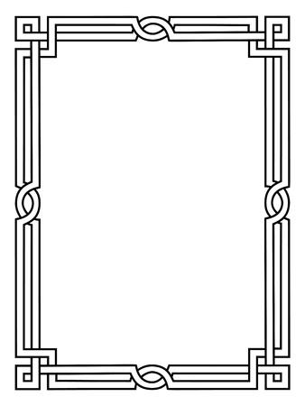 分離された黒ローマ風装飾用の装飾的なフレーム パターン