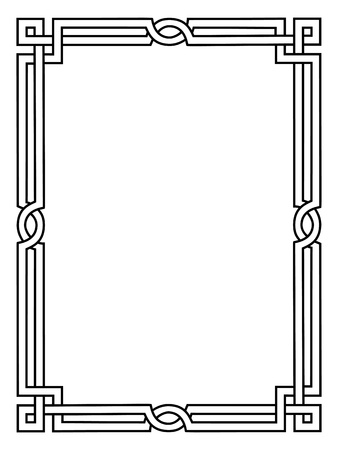 Roman style black ornamental decorative frame pattern isolated Illustration