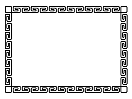 Greek style black ornamental decorative frame pattern isolated 일러스트
