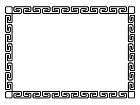 Griekse stijl zwart sier decoratief kader patroon geà ¯ soleerd Stock Illustratie
