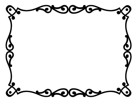 baroque border: Roman style black ornamental decorative frame pattern isolated Illustration