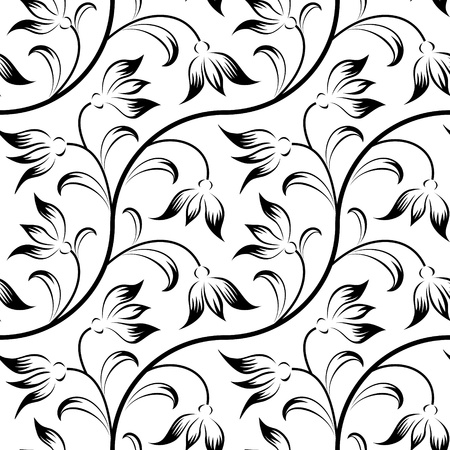 penmanship: abstract lily, floral black isolated seamless background