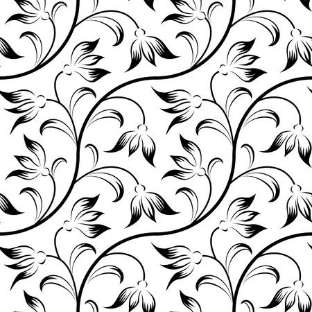 abstracte lelie, bloemen zwarte geïsoleerde naadloze achtergrond