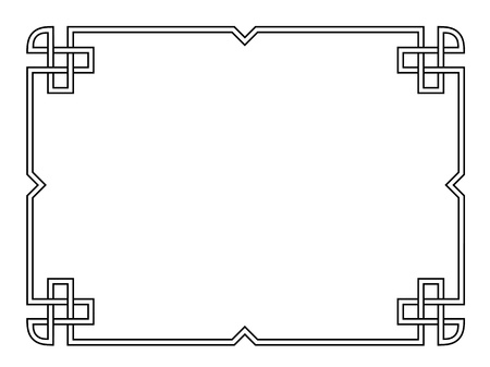 Roman style black ornamental decorative frame pattern isolated Vector