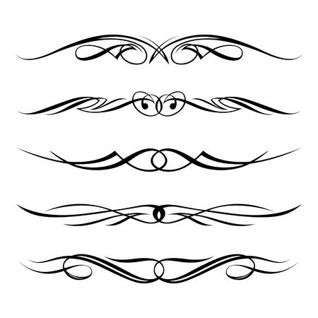 fretwork: set of decorative elements, border and page rules frame Illustration