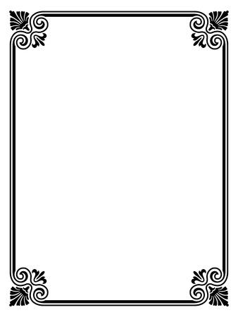 シンプルなブラック達筆装飾用の装飾的なフレームのパターン  イラスト・ベクター素材