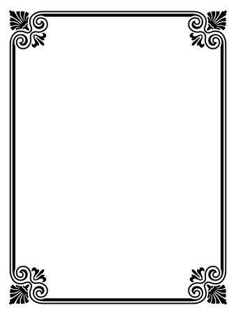 simple black calligraph ornamental decorative frame pattern Ilustração