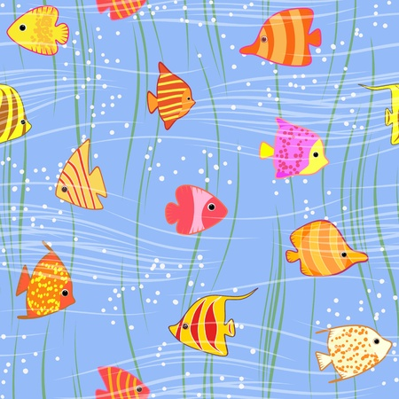 seamless multicolored tropical exotic fish background Vector