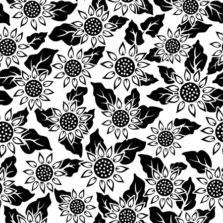 sunflower flower black isolated seamless background pattern Vector