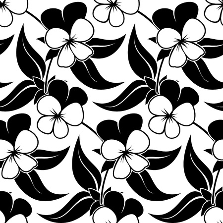 pansy viola floral black isolated seamless background Stock Vector - 19108928