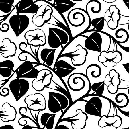 liane: seamless morning-glory black isolated retro-styled background