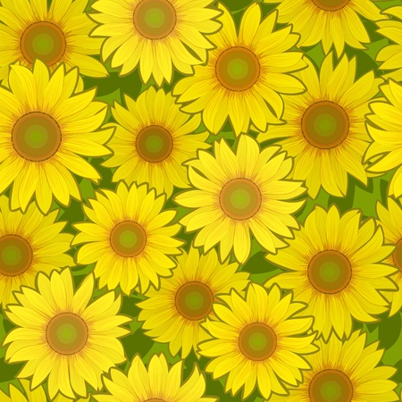 yellow sunflower flower seamless background pattern Vector