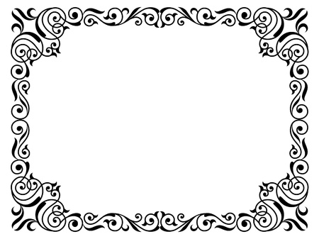 Kalligraphie Kalligraphie geschweiften barocken Rahmen schwarz isoliert