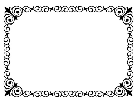 borderframe: calligraphy penmanship curly baroque frame black isolated
