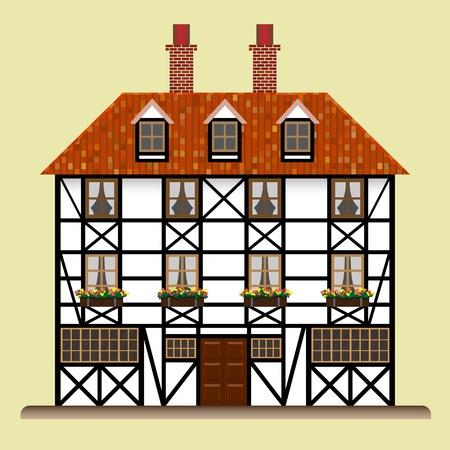 fachwerk: fachwerk house old traditional european cottage isolated