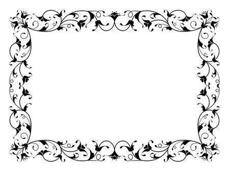 分離された東洋の花観賞デコ ブラック フレーム パターン