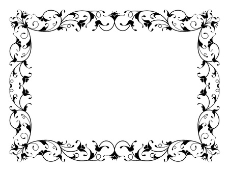 oriental floral ornamental deco black frame pattern isolated Иллюстрация
