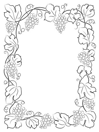 bordure vigne: calligraphie cadre �tiquette de vin de raisins noirs de la vigne Illustration