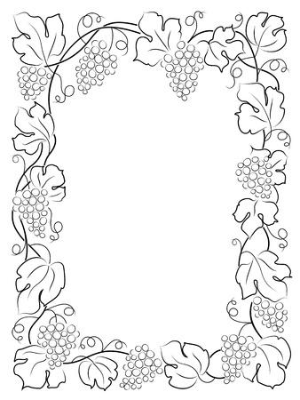 vid: negro caligraf�a marco etiqueta del vino uva vid Vectores