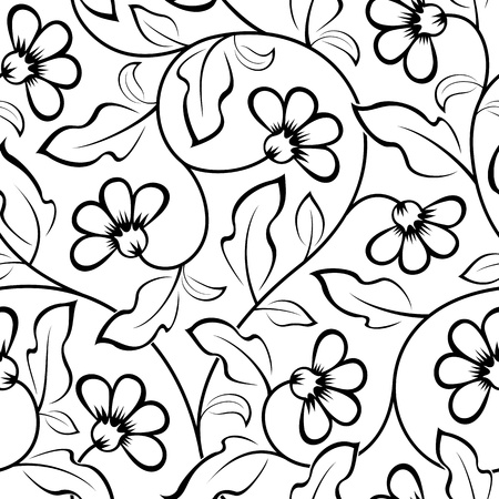 155787 black and white flower cliparts stock vector and royalty abstract flowers seamless background pattern black isolated mightylinksfo