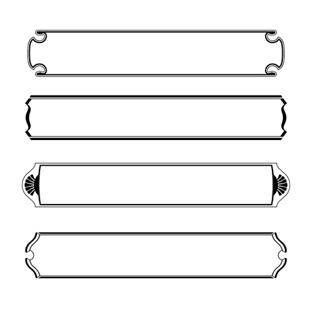 vector set of simple black banners border frame Stock Photo