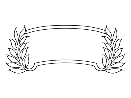 cartouche: banner frame with laurel, black isolated Stock Photo