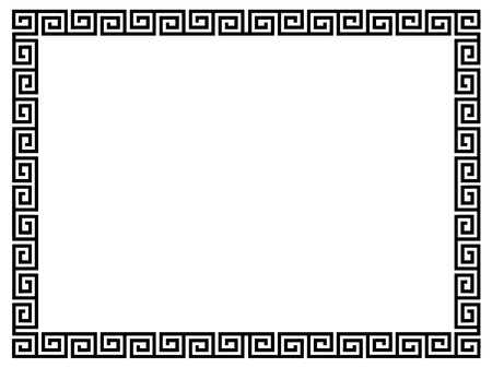 Greek style black ornamental decorative frame pattern isolated Stock Photo
