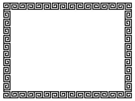 background motif: Greek style black ornamental decorative frame pattern isolated Stock Photo