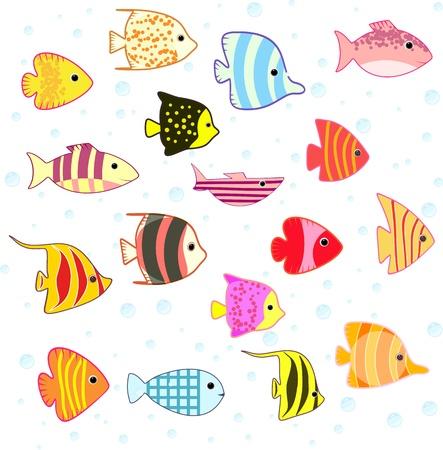 plunging: cartoon tropical fish set