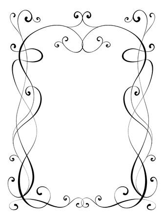 calligraphy penmanship ornamental deco frame pattern Stock Photo