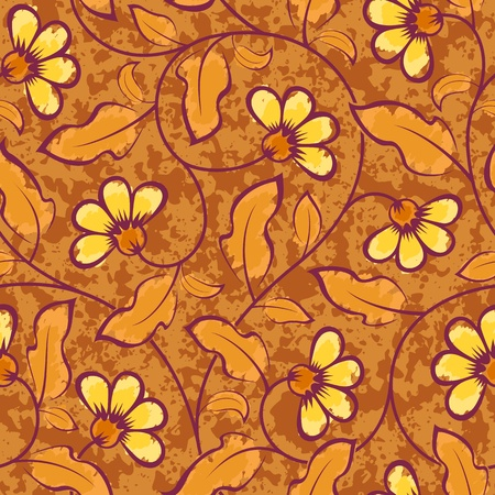abstract yellow flowers brown seamless repeat pattern background