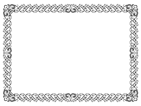 cartouche: calligraphy penmanship curly baroque frame black isolated
