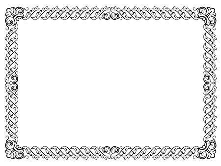 kalligrafie kalligrafie krullend barok frame zwarte ge