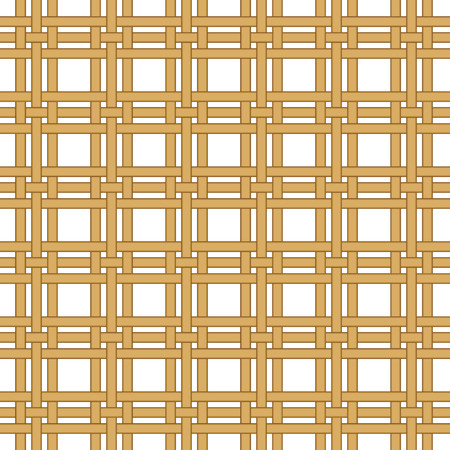 seamless straw, wicker woven isolated on white texture background Vector