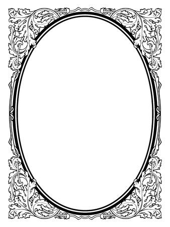 Calligrafia calligrafia cornice barocca ovale nero isolato, non tracciata - usarlo da parte Archivio Fotografico - 24234951