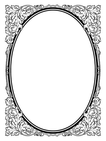calligraphy penmanship oval baroque frame black isolated, not traced - use it by part