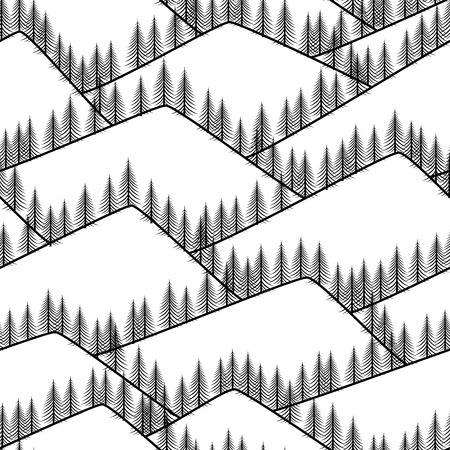 seamless abstract mountains with fir black background Stock Vector - 24442485