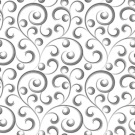 floral scroll: seamless abstract black floral background isolated