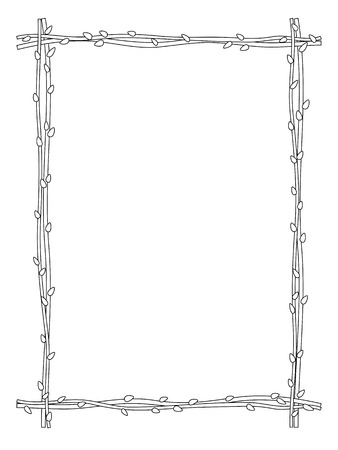 a sprig: vector twig sprig frame black white isolated background