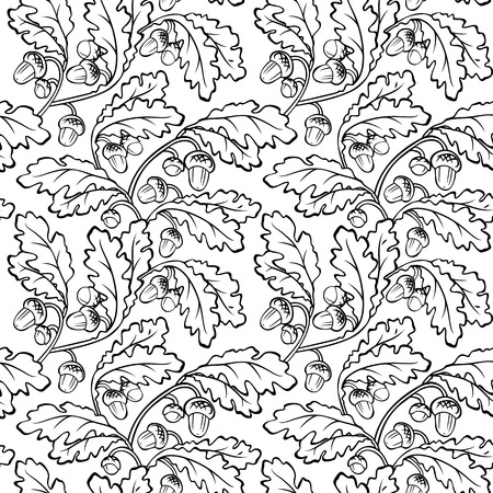 vector oak leaf acorn black white seamless background pattern Vector