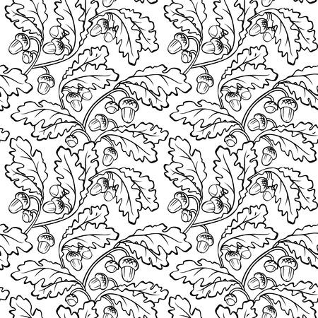 acorns: vector oak leaf acorn black white seamless background pattern
