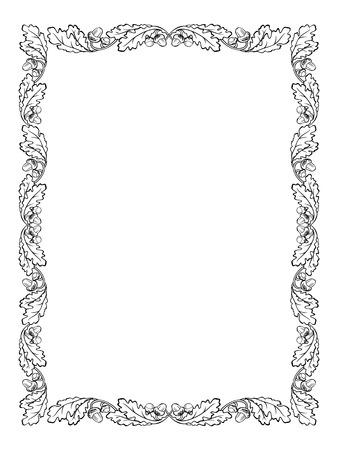oak wreath: vector oak leaf frame black silhouette isolated Illustration