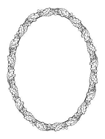 vector oak leaf oval frame black silhouette isolated  イラスト・ベクター素材