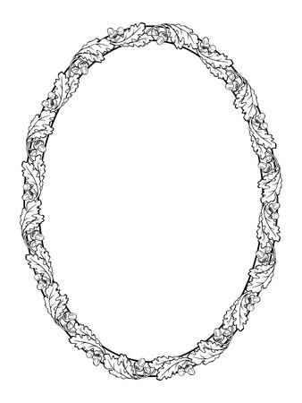 vector oak leaf oval frame black silhouette isolated 일러스트