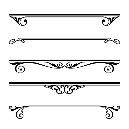 Vector set of decorative elements, border and page rules frame Ilustração