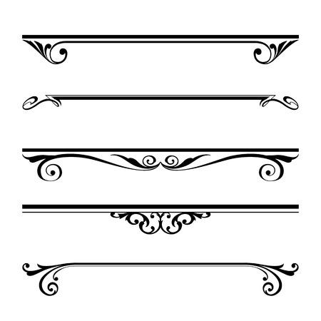utsirad: Vektor uppsättning av dekorativa element, gräns och sidan regler ram Illustration