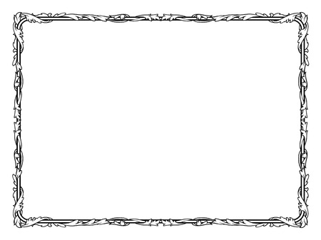 penmanship: calligraphy penmanship curly baroque frame black isolated