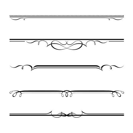 Vector conjunto de elementos decorativos, en la frontera y el marco de página de las reglas Foto de archivo - 25442470