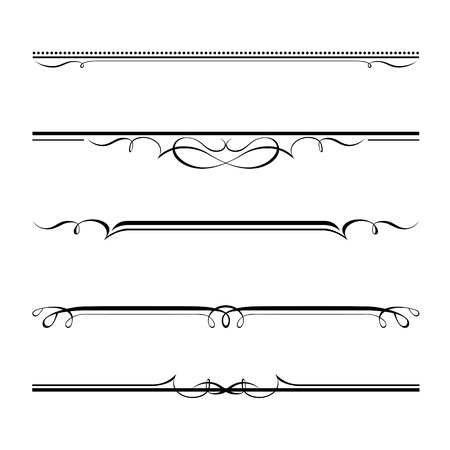 border line: Vector set of decorative elements, border and page rules frame Illustration